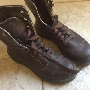Brown Doc Martens Union Jack Triumph Boots